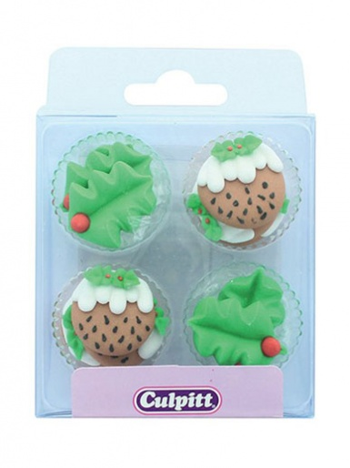 Holly and Christmas Puddings - Edible Decorations - Pack of 12