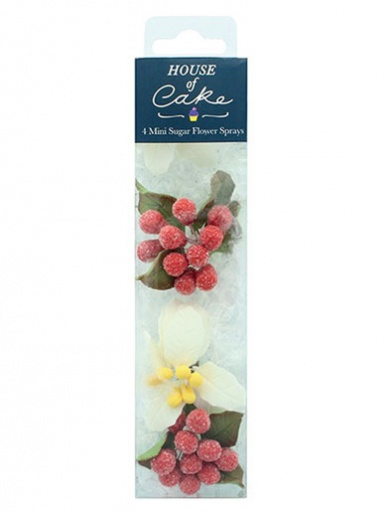 House of Cake - 4 Mini White Poinsettia Sugar Sprays