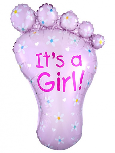 'It's a Girl' Pink Foot Balloon - 32'' Foil