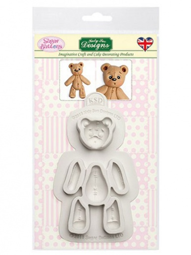 Katy Sue Sugar Buttons Mould - Stitched Teddy Bear