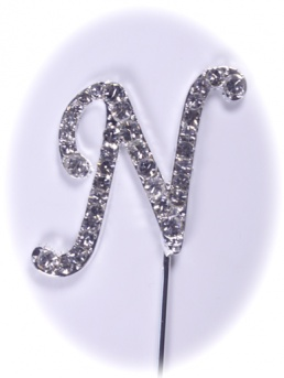 Diamante Letter on Stem - N