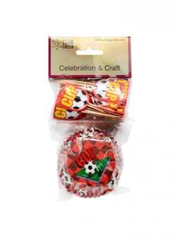 Football Cupcake Cases & Picks in Red