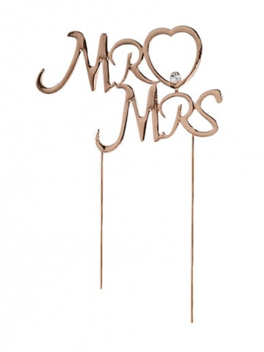 Diamante Mr & Mrs on Stem - Rose Gold
