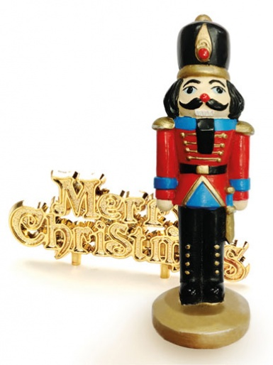 Nutcracker & Merry Christmas Motto Cake Topper
