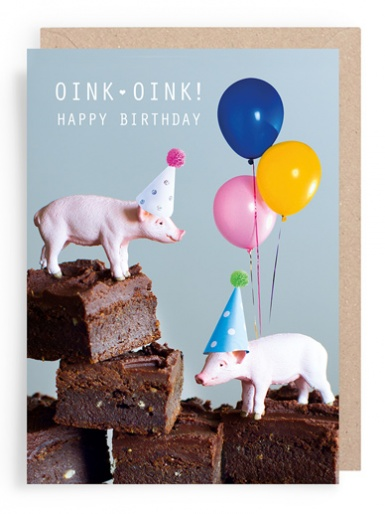 Sweet Potato Brownies - Birthday Card (Pigs with Balloons)