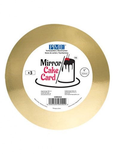 PME Mirror Cake Card - Round - Gold 6'' - Pack of 3