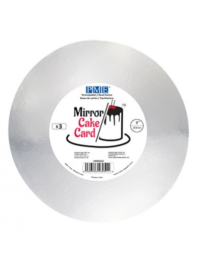 PME Mirror Cake Card - Round - Silver 8'' - Pack of 3