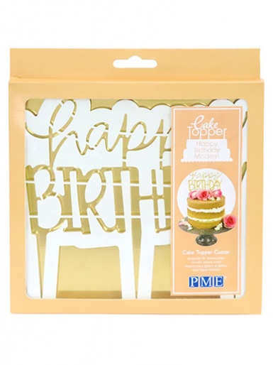 PME Cake Topper Cutter, Happy Birthday - Modern