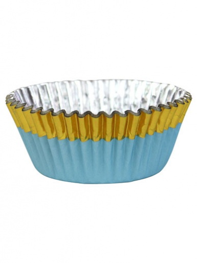 PME Blue with Gold Trim Foil Lined Cupcake Cases - Pack of 30
