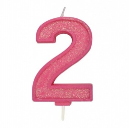Pink Sparkle Number Candle