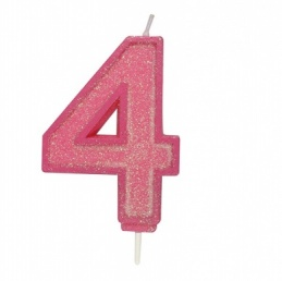 Pink Sparkle Number Candle - 4