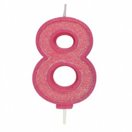 Pink Sparkle Number Candle - 8