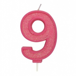 Pink Sparkle Number Candle - 9