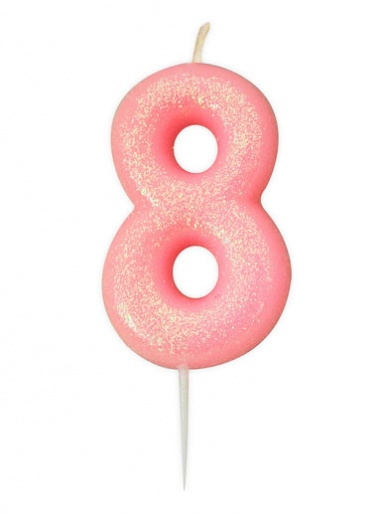 Pink Glitter Numeral Candle - 8