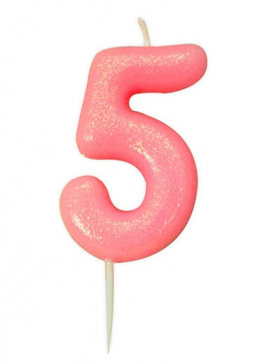 Pink Glitter Numeral Candle - 5