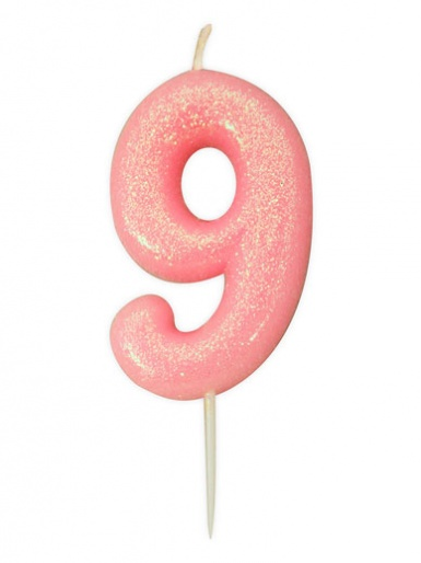 Pink Glitter Numeral Candle - 9
