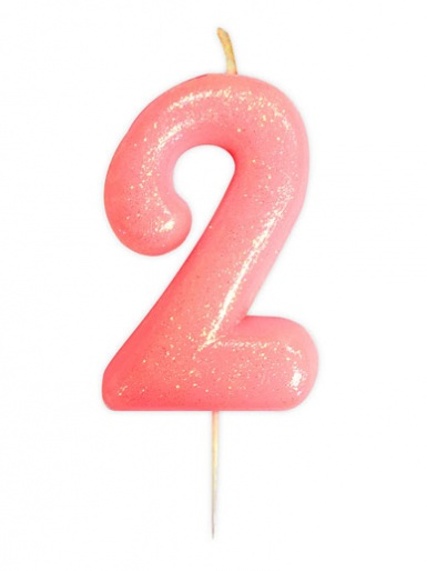 Pink Glitter Numeral Candle - 2