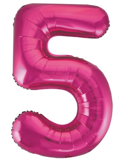 Pink Foil 34'' Balloon - Number 5