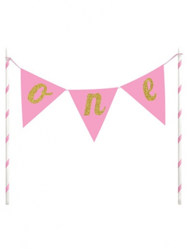 'One' Bunting Cake Topper - Pink