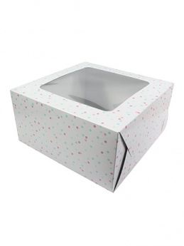 10'' Square Cake Box - Pink & Blue Spots