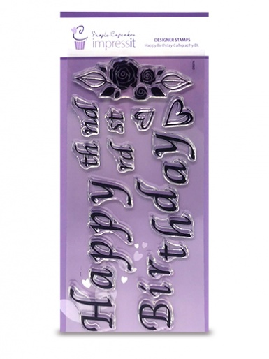 Impressit Designer Stamps Cake Board Size - Happy Birthday Calligraphy