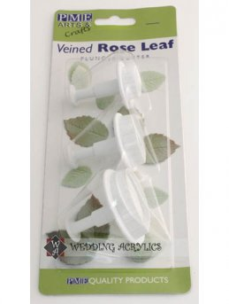 Veined Rose Leaf Plunger Cutters (set of 3)