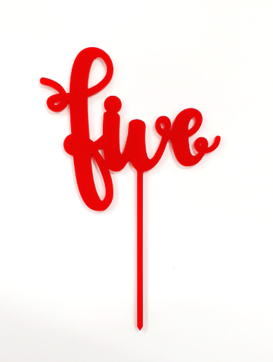 'Five' Red Acrylic Cake Topper