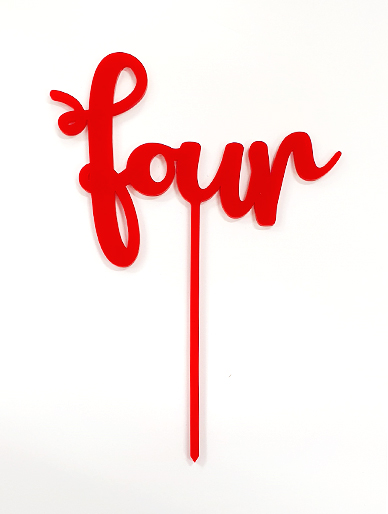 'Four' Red Acrylic Cake Topper