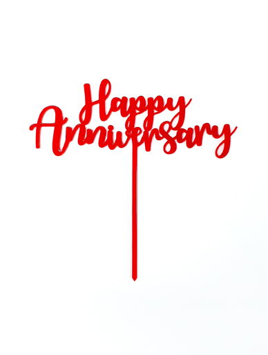 'Happy Anniversary' Red Acrylic Cake Topper