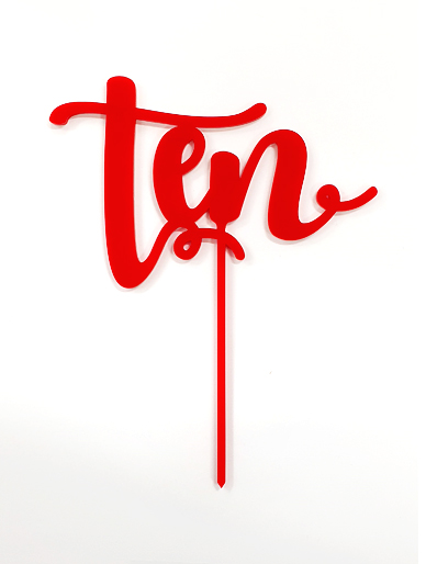'Ten' Red Acrylic Cake Topper