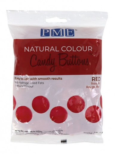 Candy Buttons - NATURAL COLOUR RED - 200g (7oz)