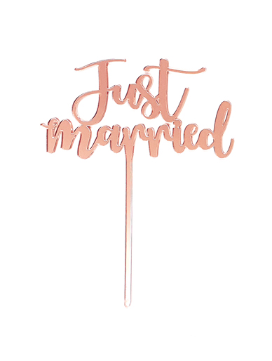 'Just Married' Rose Gold Cake Topper