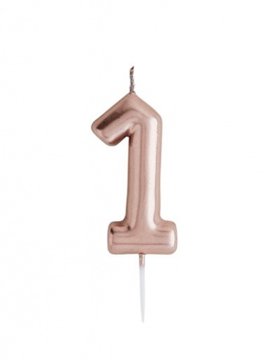 Metallic Rose Gold Number Candle - 1