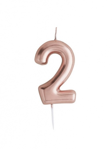 Metallic Rose Gold Number Candle - 2