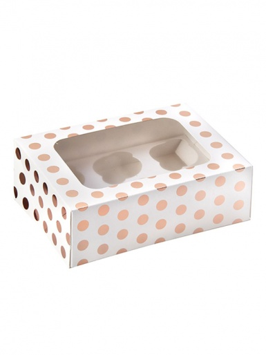 6 Rose Gold Polka Dot Cupcake Box - Single Pack