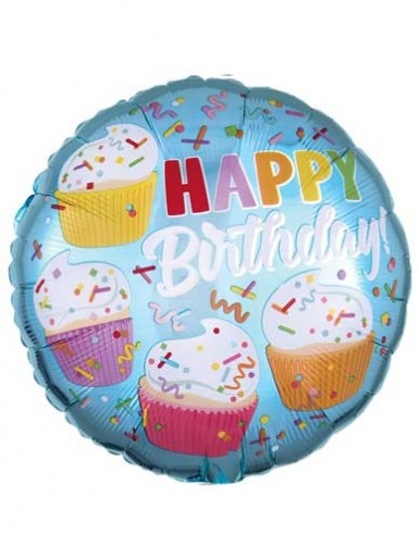 Happy Birthday Cupcakes Balloon - 17'' Foil