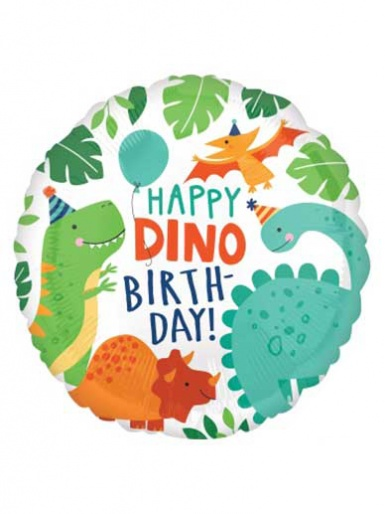 Helium Filled - Happy Dino Birthday Balloon - 17'' Foil