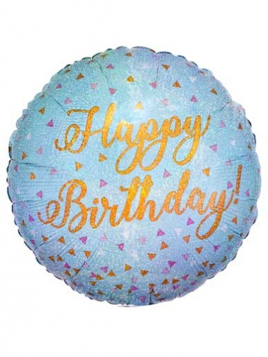Happy Birthday - Blue Confetti Balloon - 18'' Foil