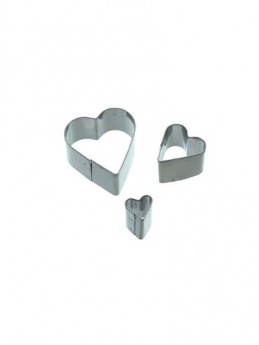 Sweetly Does It Mini Fondant Cutter Stainless Steel Hearts Set of 3
