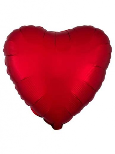 Satin Luxe Heart - Sangria Red Balloon - 19'' Matte Foil