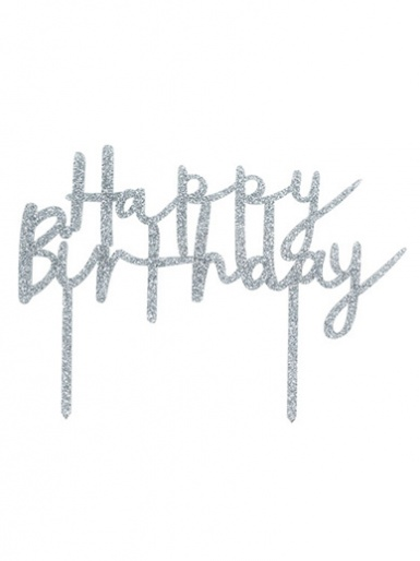 'Happy Birthday' Glitter Acrylic Cake Topper - Silver