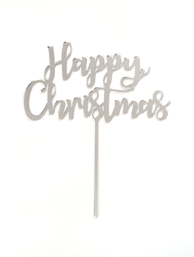 'Happy Christmas' Silver Acrylic Cake Topper