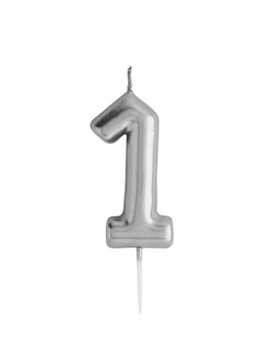Metallic Silver Number Candle - 1