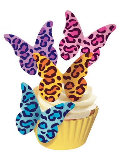 Edible Wafer Butterflies - Leopard Print