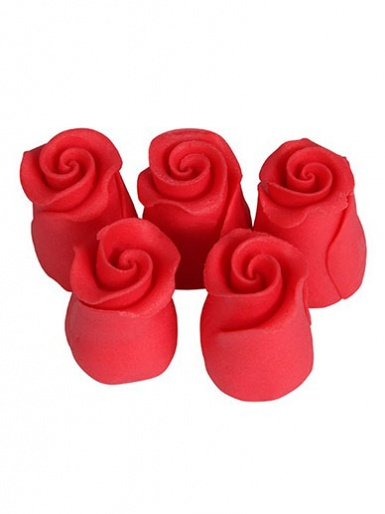 Small Soft Sugar Rosebuds - Strawberry 13mm - Box of 38