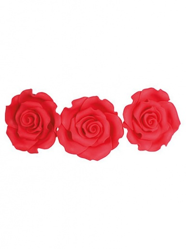 Large Soft Sugar Roses - Strawberry 50mm - Box of 10