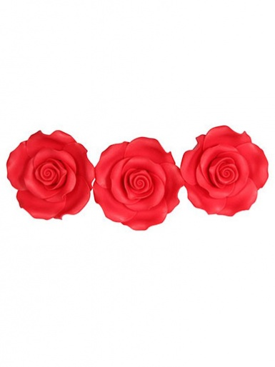 Extra Large Soft Sugar Roses - Strawberry 63mm - Box of 8
