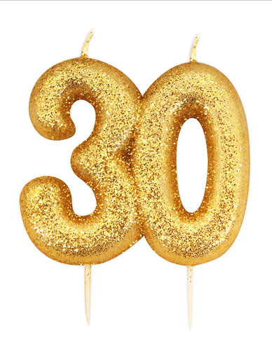 Gold Glitter Numeral Candle - 30