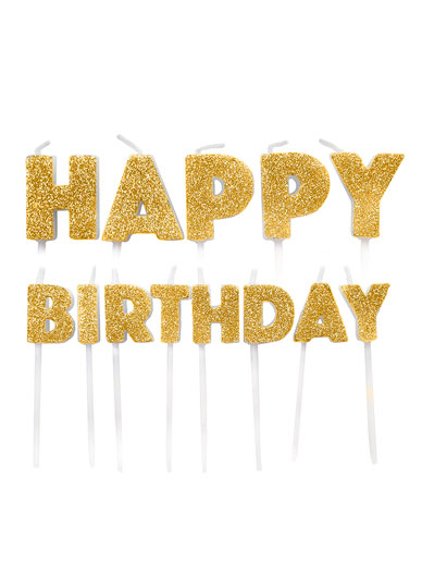 Happy Birthday Candles - Gold Glitter