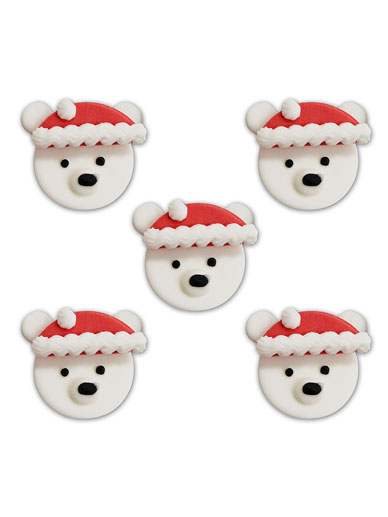 Festive Polar Bear Face Toppers